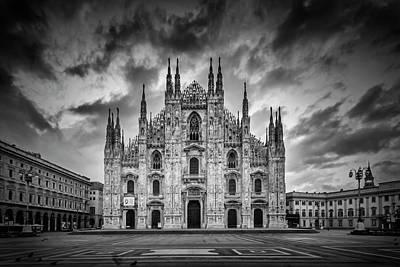 Milan Cathedral Santa Maria Nascente Monochrome Art Print by Melanie Viola