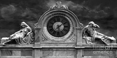 Photograph - Milan Clock In Black And White by Gregory Dyer