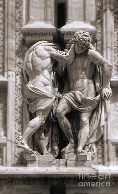 Photograph - Milan Italy Cathedral Statues In Black And White by Gregory Dyer