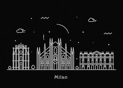 Skyline Drawing - Milan Skyline Travel Poster by Inspirowl Design