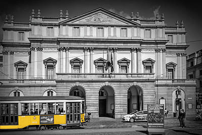 Milan Photograph - Milan Teatro Alla Scala And Tram by Melanie Viola