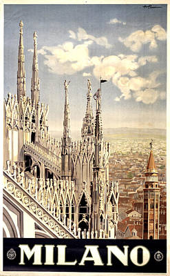 Royalty-Free and Rights-Managed Images - Milano Travel Poster - Milano Cathedral, Italy - Retro travel Poster - Vintage Poster by Studio Grafiikka