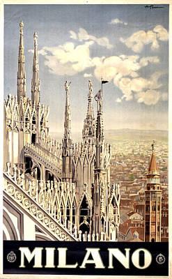 Mixed Media - Milano Travel Poster - Milano Cathedral, Italy - Retro Travel Poster - Vintage Poster by Studio Grafiikka