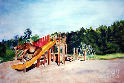 Mildred Goes Down The Slide Art Print