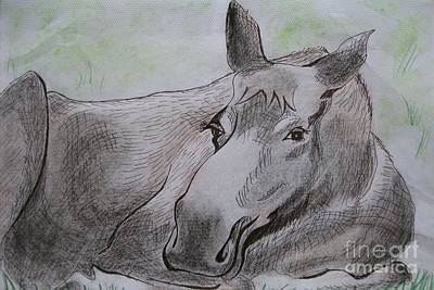 Drawing - Mildred The Moose Resting by Stella Sherman