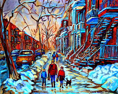 Quebec Streets Painting - Mile End Montreal Neighborhoods by Carole Spandau