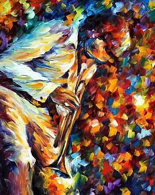 Trumpet Painting - Miles Davis - Gold Trumpet by Leonid Afremov