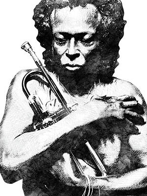Jazz Royalty-Free and Rights-Managed Images - Miles Davis bw  by Mihaela Pater