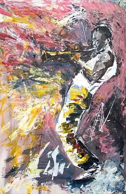 Miles Davis Oil Painting - Miles Davis by Martin Devek