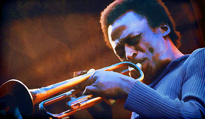 Trumpet Painting - Miles Davis On Trumpet Hot Jazz by Elaine Plesser