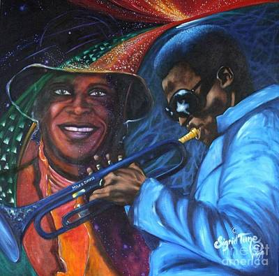 Painting - Blaa Kattproduksjoner            Miles Davis - Smiling by Sigrid Tune