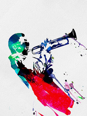 Jazz Painting - Miles Watercolor by Naxart Studio