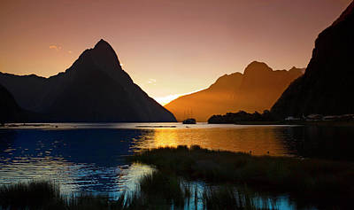 Milford And Mitre Peak At Sunset Art Print