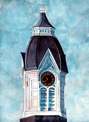 Historic Architecture Painting - Milford Clock Tower by Janine Riley