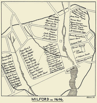 Photograph - Milford Connecticut In 1646 Antique Map by Phil Cardamone