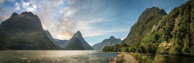 Photograph - Milford Sound Panorama At Golden Hour by Daniela Constantinescu