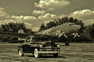 Photograph - Military C47 And 1949 Plymouth by TeeMack
