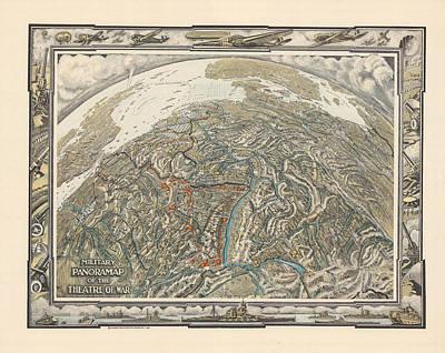 Old World Vintage Cartographic Maps Wall Art - Drawing - Military Panorama Map Of Europe - France, Switzerland, Germany, England - Historic Map - World War by Studio Grafiikka