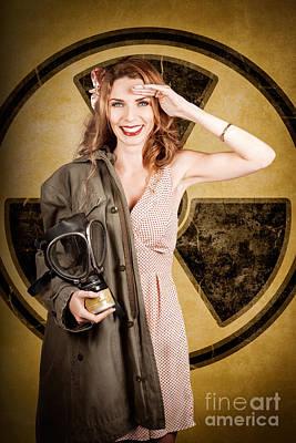 Military Pin-up Woman. Atomic Female Bombshell Art Print by Jorgo Photography - Wall Art Gallery