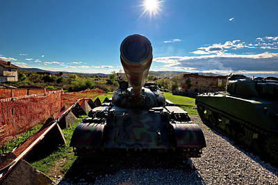 Photograph - Military Tank Silhouette With Sun Rays  by Brch Photography