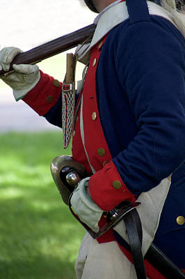 Red White And Blue Mixed Media - Military Uniform Revolutionary War Sideview 08 by Thomas Woolworth