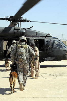 Photograph - Military Working Dog Handlers Board by Stocktrek Images