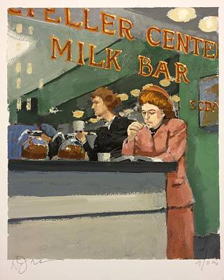 Working Women Painting - Milk Bar by H James Hoff