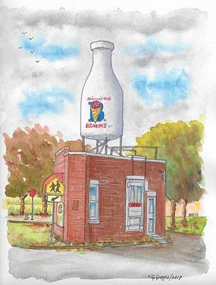 Painting - Milk Bottle Building In Route 66, Oklahoma City, Oklahoma by Carlos G Groppa