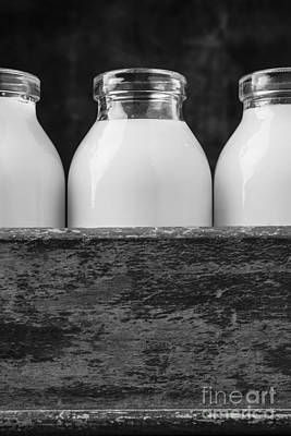 Photograph - Milk Bottles 3 Black And White by Edward Fielding