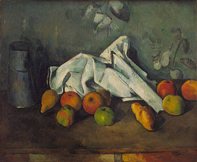 Canned Fruit Painting - Milk Can And Apples 1879  by Paul Cezanne
