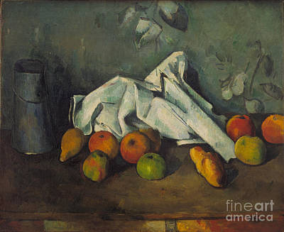 Milk Can Painting - Milk Can And Apples by Cezanne