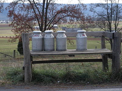 Art Print featuring the photograph Milk Cans Waiting For Pickup by Jeanette Oberholtzer