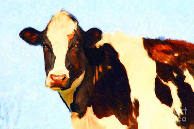 Wingsdomain Digital Art - Milk Cow . Photoart by Wingsdomain Art and Photography