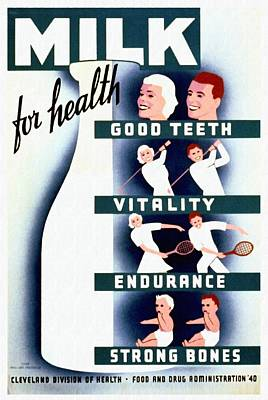 Milk For Health - Vintage Poster Restored Original