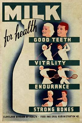 Milk For Health - Vintage Poster Vintagelized Original