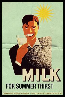 Milk For Summer Thirst - Vintage Poster Folded Original