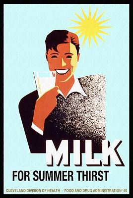 Milk For Summer Thirst - Vintage Poster Restored Original