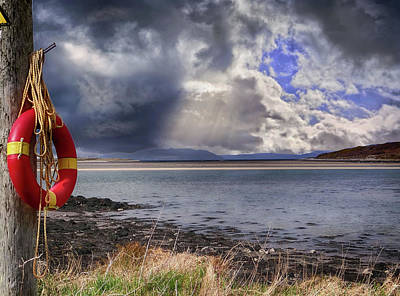 Digital Art - Milk Harbour, Co. Sligo. A Storm Rolling In From The Atlantic As The Sun Splits The Clouds by John Carver