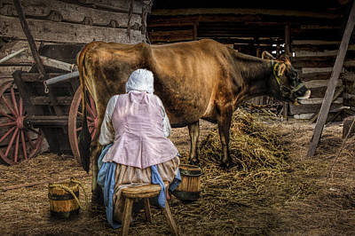 Photograph - Milk Maid Milking by Randall Nyhof
