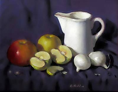 Painting - Milk Pitcher, Apples And Pearl Onions by Robert Holden