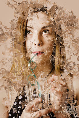 Milk Shake Pin-up Woman. Restaurant Art  Art Print by Jorgo Photography - Wall Art Gallery