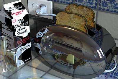 Toaster Digital Art - Milk Toast by John  Tonkin