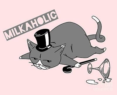 Aristocrat Digital Art - Milkaholic Cat Baron by NamiBear
