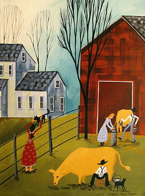 Cat Art Painting - Milking The Cows - Folk Art by Debbie Criswell
