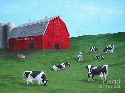 Milking Time Dairy Art Print