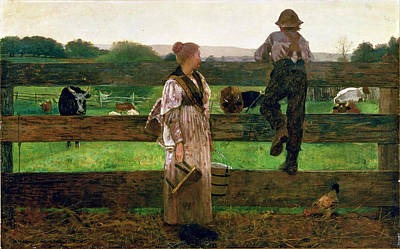 Winslow Homer Painting - Milking Time by Winslow Homer