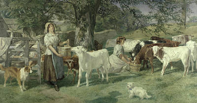 Cattle Dog Painting - Milkmaids by Basil Bradley