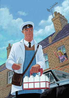 Milkman On Daily Milk Delivery In Urban Old Street Art Print by Martin Davey