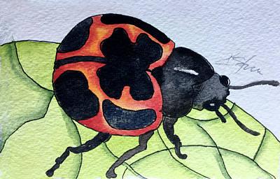 Red Milkweed Beetle Painting - Milkweed Beetle by Kathy Sturr