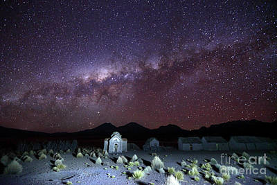 Astro Photograph - Milky Way Above Abandoned Rural Hamlet And Church Bolivia by James Brunker